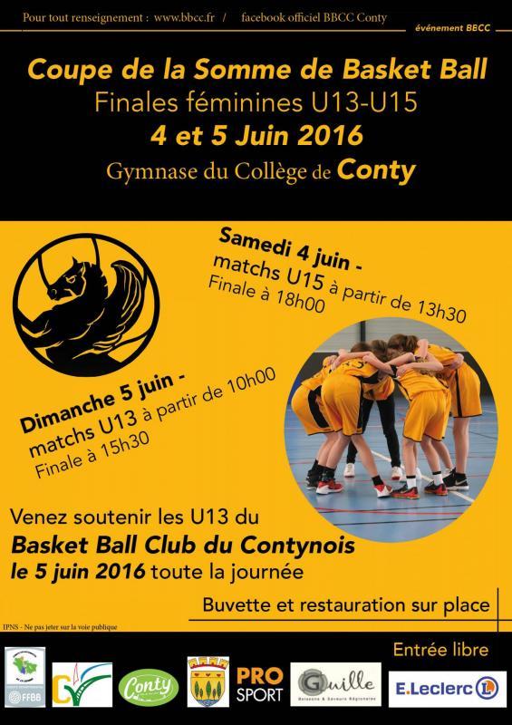Affiche des finales de la Coupe de la Somme U13 et U15 féminines.