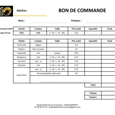 Bon de commande vetements adultes 11 2019