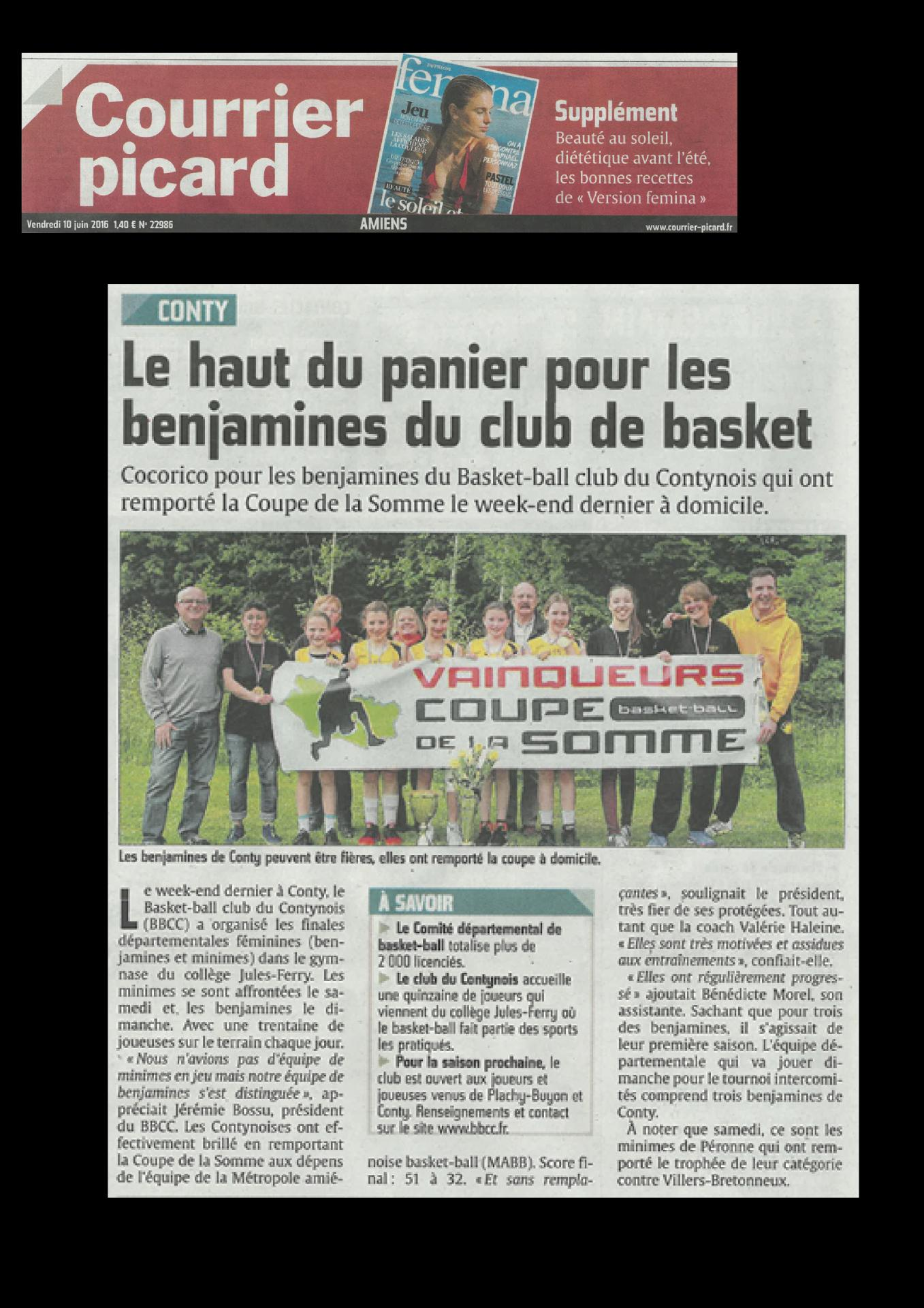 Article du 10 juin 2016, Courrier Picard