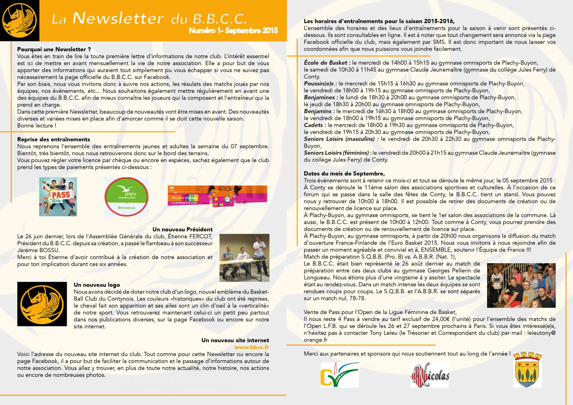 Newsletter #1 - septembre 2015