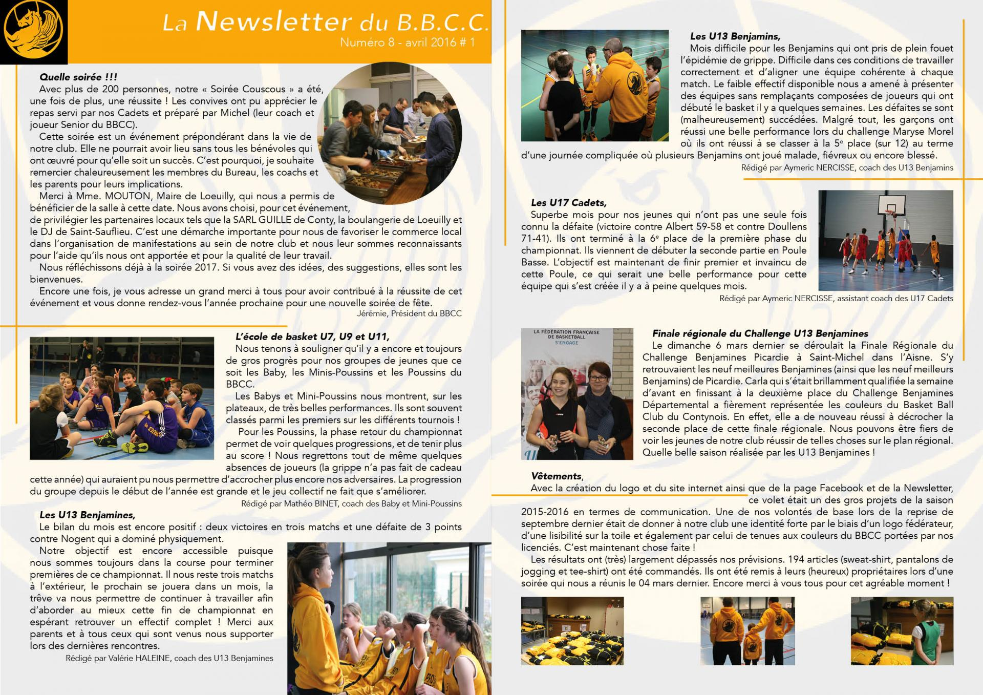 Newsletter #8 - avril 2016