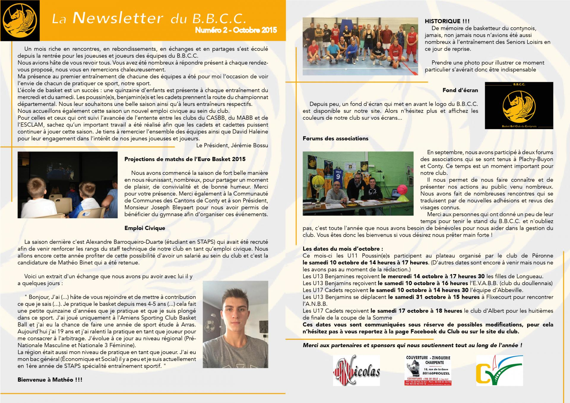 Newsletter #2 - octobre 2015