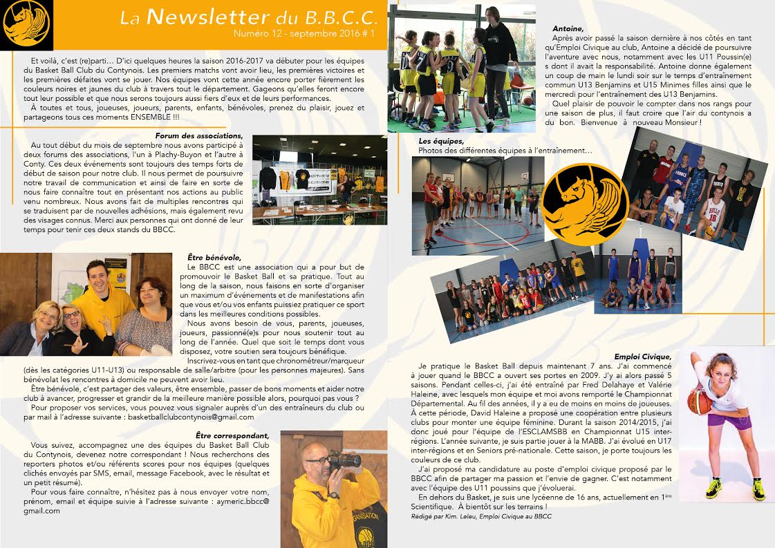 Newsletter #12 - octobre 2016